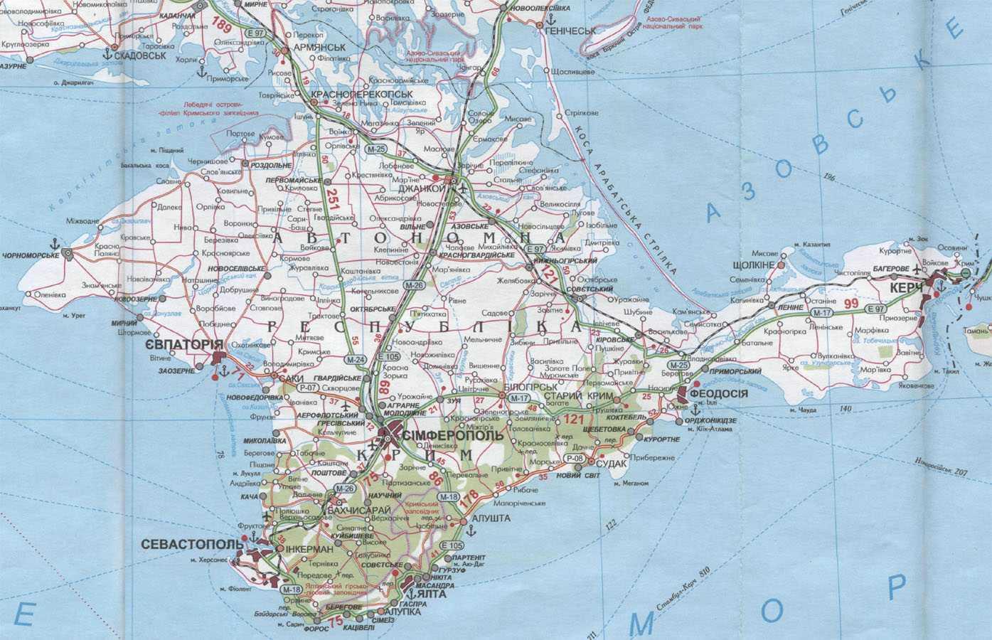 карта автодорог крыма с километражом шашлыка дом это
